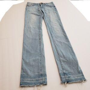 Zara Premium Wash Raw Hem Straight Jeans Size 4